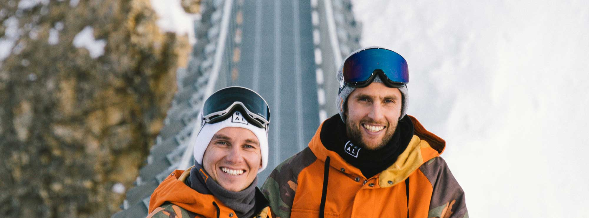 dragon goggles potrait of real snowboarding instructors